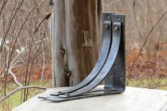 Adirondack Blacksmith's Station Grandé... EXTRA LARGE SIZE!!! Two (2) brackets. Compare our jumbo Station brackets, Station Grandé, to our standard Station bracket (far right) by