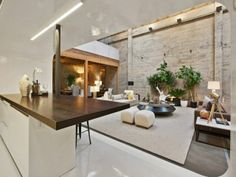 Concrete and white high gloss laminate, nice.