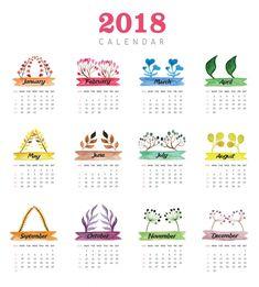 Kalender 2018 Blätter Design