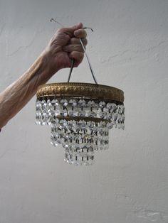 Small Pee Crystal Flush Mount Chandelier Regency Empire Lightolier Italian Style 3 Tier Shabby Chic