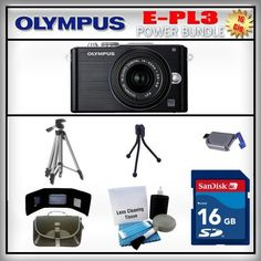 Olympus PEN E-PL3 Black 12MP Digital Camera - Olympus 14-42mm Lens - 16GB SDHC Memory Card - USB Memory Card Reader - Memory Card Wallet - Carrying Case - Lens Cleaning Kit - Full Size and Mini Tripods by Olympus. $619.99. Olympus E-PL3  The new 12.3 megapixel Live MOS sensor is optimized to maximize the performance of all m.Zuiko digital lenses in any shooting condition. Improvements to the sensitivity and read-out speed of the existing sensor makes ISO 12,800 shooting a...