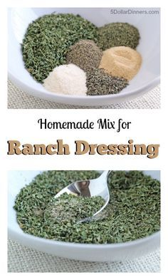 Homemade Ranch Dressing Mix | ( combine with cottage cheese and a little milk in magic bullet)
