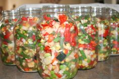 CANNING VEGETABLE SOUP: made easy! A variety of veggies was used: potatoes, tomatoes, corn, green beans, peas, zucchini, lima beans and carrots. the veggies are added fresh, with no liquid, as they make their own broth. we pressure canned for 45 minutes and they will last at least one year. :)
