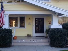 Our client's creamy yellow bungalow.  Craftsman style in California.