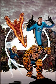 The Fantastic Four by George Perez, colours by Tom Smith. Marvel Comics Superheroes, Hq Marvel, Marvel Characters, Marvel Heroes, Comic Book Artists, Comic Artist, Comic Books Art, Fantastic Four Marvel, Mister Fantastic