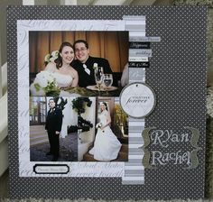 Wedding layout.  Three pics: Bride and Groom together / bride / groom.  Mat with contrasting paper.