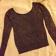 Gorgeous Party/Date Top Glimmering black with multicolored sparkles Medium Blouse. So Pretty, Stands Out, has a Beautiful crisscross pattern on back for some added sexiness! Almost Famous Tops Blouses