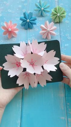 DIY beautiful flower card - a simple tutorial that shows you how to make a . - DIY beautiful flower card – A simple tutorial that shows you how to make a beautiful flower card. Diy Crafts Hacks, Diy Crafts For Gifts, Diy Arts And Crafts, Creative Crafts, Crafts For Kids, Card Crafts, Handmade Crafts, Paper Flowers Craft, Paper Crafts Origami