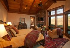 Luxury Master Bedrooms | romantic bedroom with wooden color and fireplace Modest Bedroom ...
