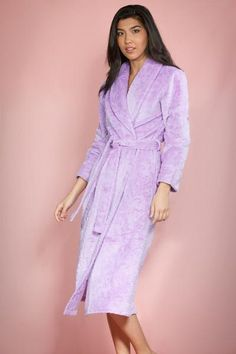 7be4cfd8e4 Flower Design Royal Plush Robe (Lavender)