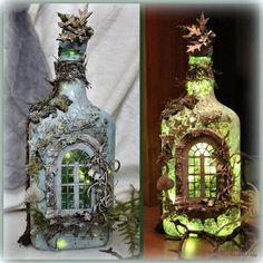 Glass Bottle Crafts, Wine Bottle Art, Diy Bottle, Bottles And Jars, Glass Bottles, Painted Bottles, Mystical Forest, Jar Art, Bottle Painting