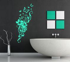 Schmetterling Wandtattoo Dekoration - Blumen Wandsticker