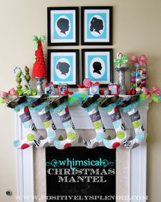 Whimsical Christmas Mantel Decor #christmas #mantels #silhouettes