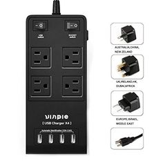 #manythings HIGH QUALITY POWER STRIP: • This AC plugs power strip with 4 outlets and 4 USB charging ports in one unit, the #Vinpie power station meet the need/de...