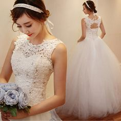 Cheap Korean Simple White Lace Wedding Dress 2016 Plus Size Vintage Belt Bridal Ball Gown Vestidos de Novia Dress Free Shipping