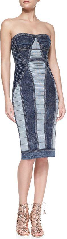 Herve Leger Gwyn Strapless Denim-Style Bandage Dress