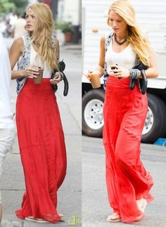 Maxi skirts paired with denim