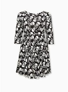 Betsey Johnson Black Skull & Bones Ponte Mini Skater Dress, SKULL - BLACK Mini Skater Dress, Skull And Bones, Plus Size Dresses, Betsey Johnson, Dresser, Bodycon Dress, Fabric, Clothes, Dark