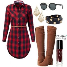 Shop this Fall Holiday Outfit on Frugal Coupon Living's Frugal Fashion Friday. Fall Fashion. Outfit of the Day. Red Plaid Dress.