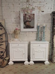 beautiful shaby chiqe white washed furniture   Painted Cottage Chic Pair of Shabby White Romantic French Night