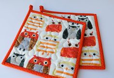 Owl Potholders Quilted Potholders Fabric by cachecreekquilts