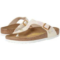 Birkenstock Gizeh (Shiny Snake Cream Birko-Flor   ) Women's Dress... ($95) ❤ liked on Polyvore featuring shoes, sandals, lightweight shoes, low heel dress sandals, special occasion sandals, snake sandals and cream shoes