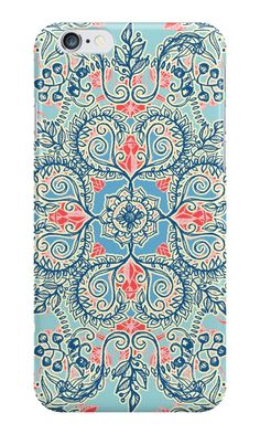 """""""Gypsy Floral in Red & Blue"""" iPhone Cases & Skins by micklyn 