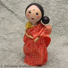 Clothespeg / Clothespin doll dressed in a traditional Sari made from wired ribbon. The doll's Bindi is made from a sticker