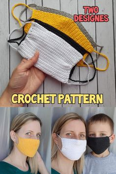 FACE MASK crochet pattern set of 2 designs, Reusable FaceMask Pattern with filter, Pdf instructions, Easy Washable cotton Mask for adults Crochet Mask, Crochet Faces, Crochet Toys, Knit Crochet, Knitting Patterns, Crochet Patterns, Handmade Toys, Single Crochet, Sewing