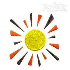 Sun Retro Embroidery Design. Size: 2.01 x 2.17\