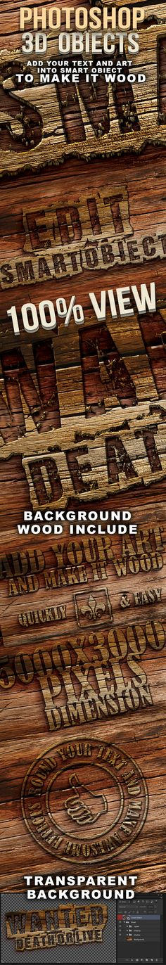 Photoshop 3D wood text — Layered PSD #3d text #layer style • Available here → https://graphicriver.net/item/photoshop-3d-wood-text/5870903?ref=pxcr
