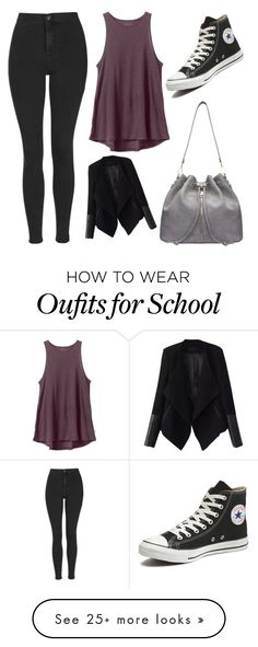 """First Day of School"" by briannasparks-1 on Polyvore featuring Topshop, RVCA, Converse, Relaxfeel, women's clothing, women, female, woman, misses and juniors"