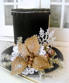 My Homespun Holiday. Snowman hat, with a burlap flower.