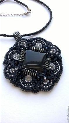украшение на шею, сутажный кулон, черный кулон, кулон с агатом, кулон с черным…