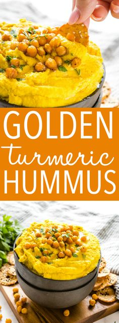 This Golden Turmeric Hummus is the perfect easy-to-make snack or appetizer made with chickpeas, turmeric and garlic! Creamy and smooth and so easy to make! Recipe from thebusybaker.ca! #turmeric #hummus #snack #appetizer #superfood #health #healthy #homemade via @busybakerblog White Bean Hummus, Hummus Ingredients, Roasted Garlic Hummus, Easy To Make Snacks, Homemade Hummus, Lentil Curry, Chickpea Recipes, Hummus Recipe, Canned Chickpeas