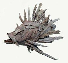 Fish Driftwood Sculptures & Art - Tony Fredriksson Open Sky Woodart in White River, Mpumalanga, Fish Gallery Sculptures by Tony Fredriksson Driftwood Fish, Driftwood Sculpture, Fish Sculpture, Fish Gallery, Twig Art, Driftwood Projects, Wood Creations, Ocean Art, Fish Art