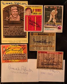 """I sent 5 cards and $50 to HOF legend Brooks Robinson and I got back more than I expected!  He signed my 1969 Topps #504 6th Series Checklist card my 1973 Topps #90 and three Topps team cards.  The team card are 1958 1959 and 1960 Baltimore Orioles team cards.  He signed the 1958 and 1960 cards on the back. There are no more living players to get on the 1958 team so that one is done and going into the 1958 book. """"The Human Vacuum Cleaner"""" also signed the 2 protective index cards and as icing…"""