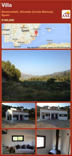 Villa for Sale in Benimantell, Alicante (Costa Blanca), Spain - A Spanish Life Murcia, Alicante, Valencia, Famous Architects, Fruit Trees, Countryside, Spanish, Villa, Water