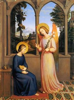 Giclee Print: The Annunciation, 1828 by Johann von Schraudolph : Catholic Art, Religious Art, Madonna, Angelus, Fra Angelico, Mary And Jesus, Holy Mary, Angels Among Us, Art Thou