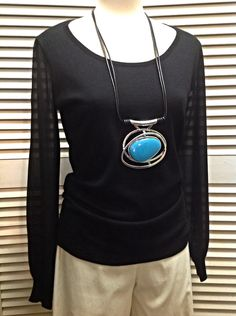August Silk  - Black top with chiffon sleeves  - $60