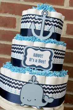 3 Tier Nautical Diaper Cake Ahoy It's A Boy by BabeeCakesBoutique