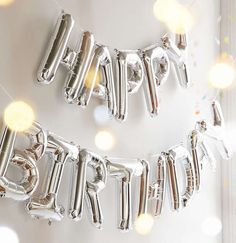 "Happy Birthday - Silver Letter Balloon Banner Garland - 16"" - Mylar Foil…"