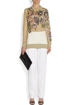 Givenchy                               Sheer silk-organza sweatshirt with sequin roses