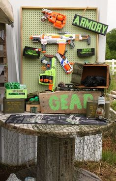 Tattered and Inked: Green & Black Nerf Birthday Party {With FREE Printables!}