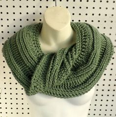 SNAKE WIde Crochet Infinity Scarf in Light Sage Green that wraps around the shoulders