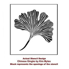 """Check out this Chinese Ginkgo Stencil from the Kim Myles """"Global Glam Collection""""! Now any DIY decorator can get that designer look for a fraction of the cost of wallpaper. Stencil collection by Kim Myles and Cutting Edge Stencils Large Wall Stencil, Stencil Wall Art, Leaf Stencil, Stencil Painting On Walls, Stencil Diy, Art Mural, Stenciling, Free Stencils, Silk Painting"""
