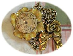 Flower Watch Face Collage Brooch in a Vintage by FromABygoneTime