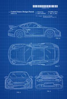 2011 Porsche 911 Patent - Patent Print Wall Decor Automobile Decor Automobile Art Sports Car Porsche Decor by PatentsAsPrints