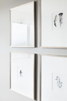 narrow silver frames with large white matts