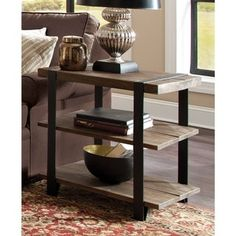 Modesto Rustic Natural Metal Strap and Reclaimed Wood 2-tier End Table - 18825247 - Overstock - Great Deals on Coffee, Sofa & End Tables - Mobile